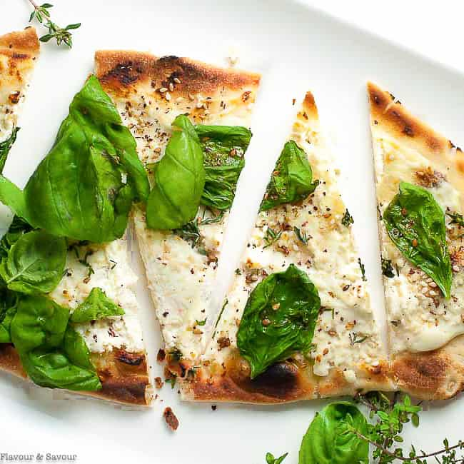 overhead view of Whipped Goat Cheese Sesame Flatbread with Za'atar