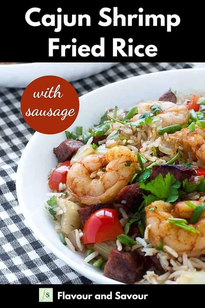 Cajun Shrimp Fried Rice with text overlay
