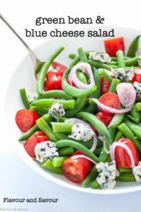 Green Bean Blue Cheese Salad with tomatoes title