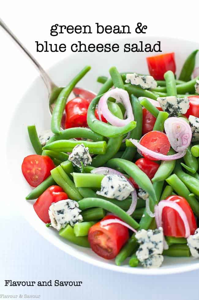 Green Bean Blue Cheese Salad with tomatoes title. One of 5 Low-Carb Green Bean Recipes