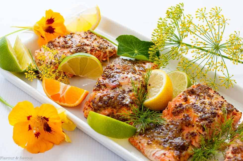 Honey Dijon Glazed Salmon in foil |www.flavourandsavour.com