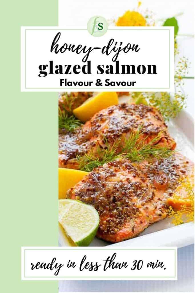 Image with text overlay for honey dijon glazed salmon