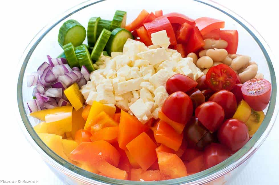 Ingredients for Mediterranean Chopped Salad with Cannellini Beans