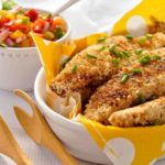 Spicy, full-flavoured Cajun Chicken Strips with Nectarine Salsa on the side makes a light gluten-free meal that's fun to eat!