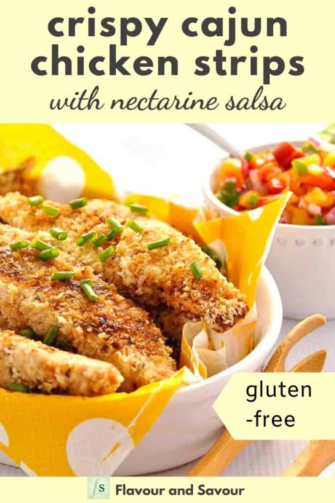 Pinterest image with text overlay for Crispy Cajun Chicken Strips with Nectarine Salsa Gluten-Free