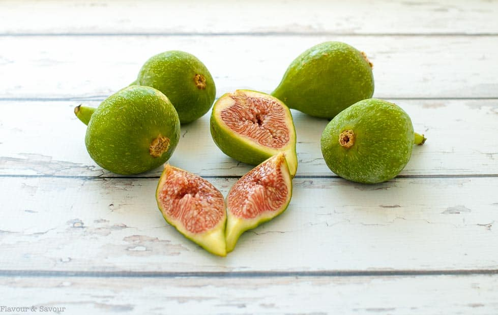 Fresh Desert Sun figs, sliced to reveal pink interior