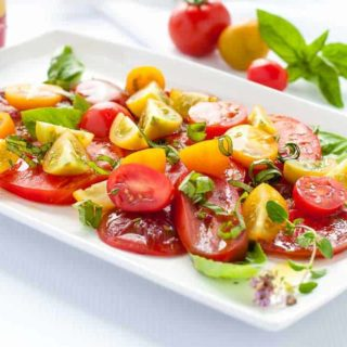 Heirloom Tomato Salad with Basil, Capers and Feta |www.flavourandsavour.com