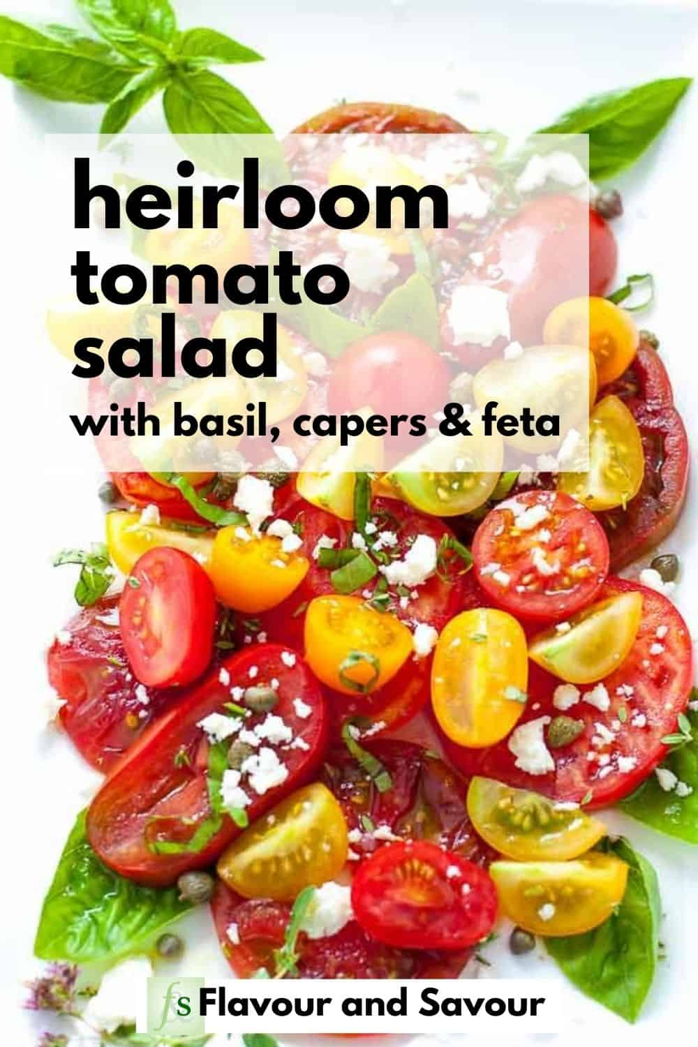 Pinterest Pin for Heirloom Tomato Salad with text overlay