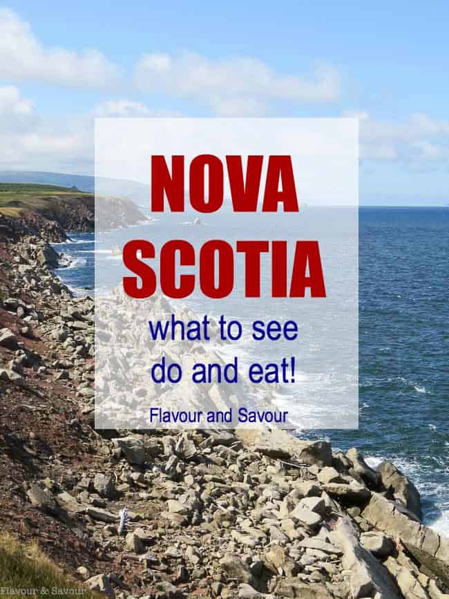 Pinterest pin for Nova Scotia--What to see, do and eat