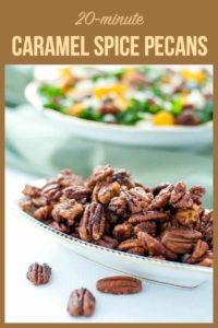 Pinterest Pin for Caramel Spice Pecans