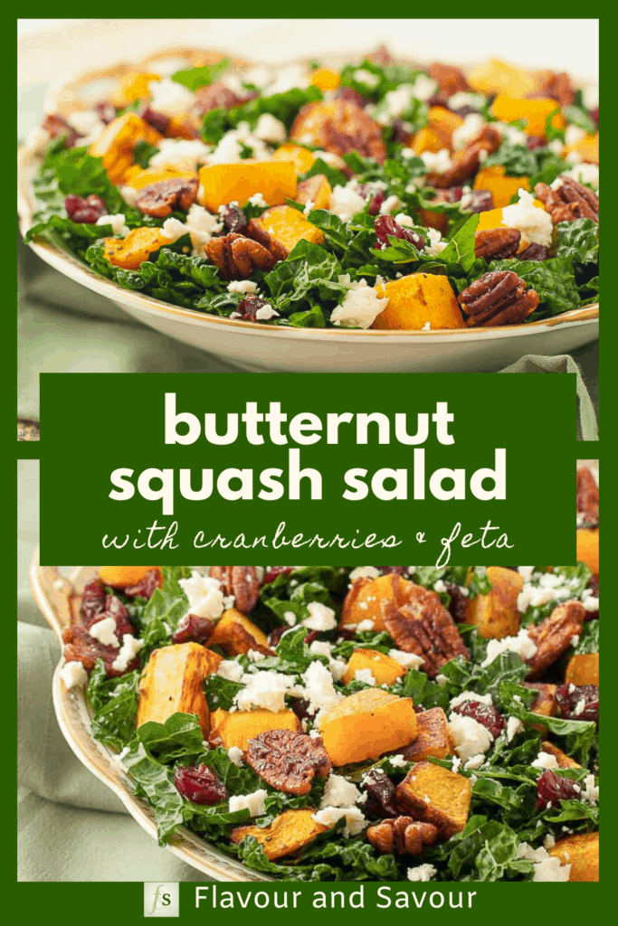 Image and text for butternut squash salad with cranberries and feta