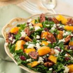Butternut Squash Salad with Kale Cranberries + Feta