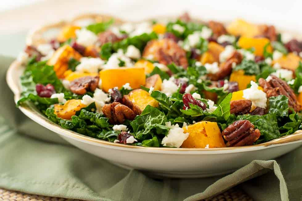 Butternut Squash Salad with Kale Cranberries + Feta close up view