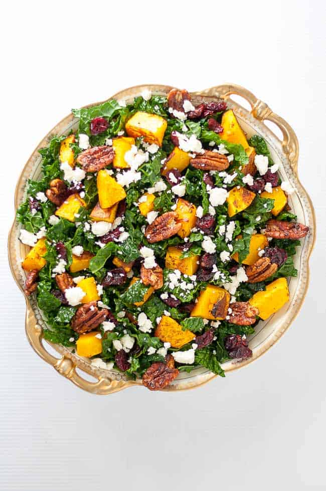 Butternut Squash Salad with Kale Cranberries + Feta overhead view
