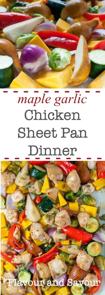 Paleo and Family-friendly Maple Garlic Chicken Sheet Pan Dinner with Butternut Squash |www.flavourandsavour.com
