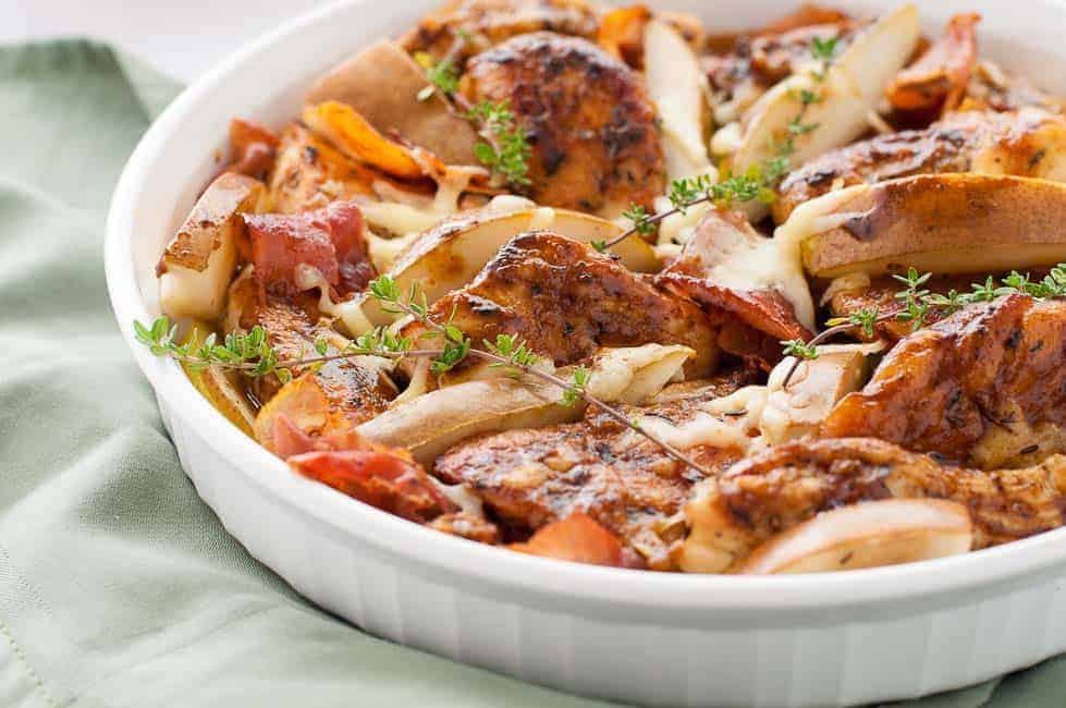 One-pan chicken with Prosciutto Pears and Parmesan Cheese.