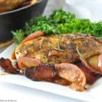 One pan spiced apple chicken with bacon with curly kale