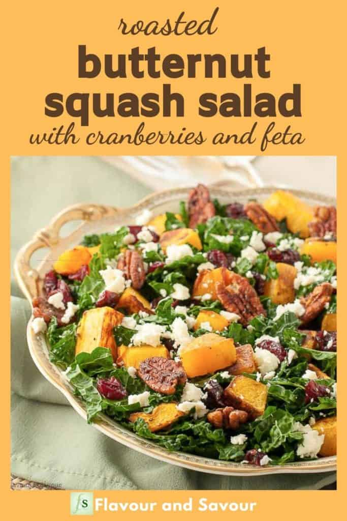Image with text overlay for Butternut Squash Salad