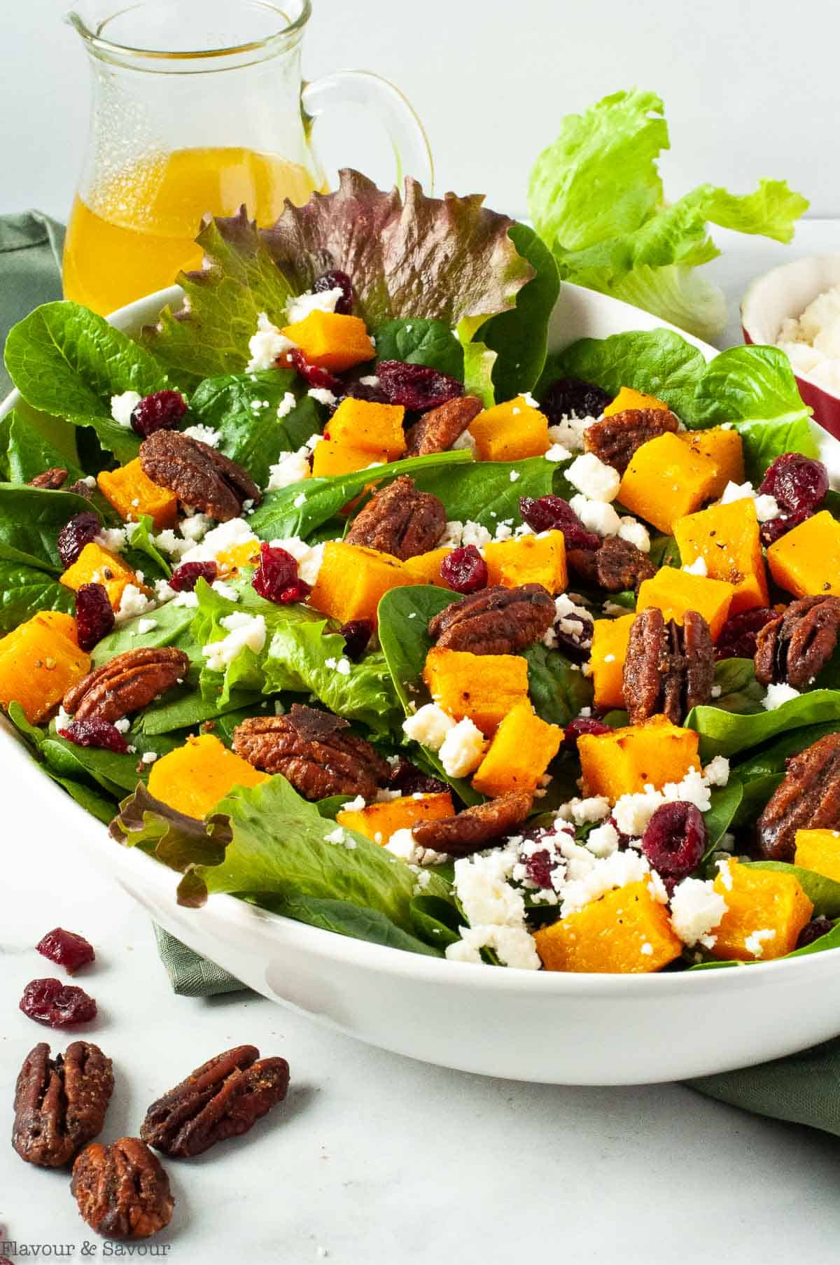 Side view of Butternut Squash Salad with Cranberries and Feta