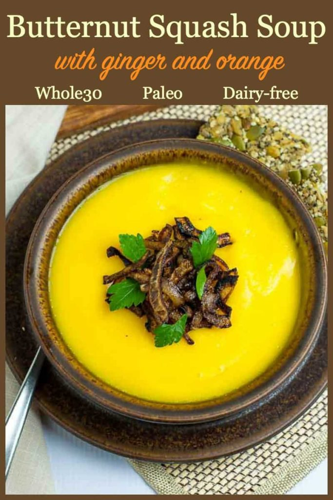 Pinterest Pin for Roasted Butternut Squash Soup