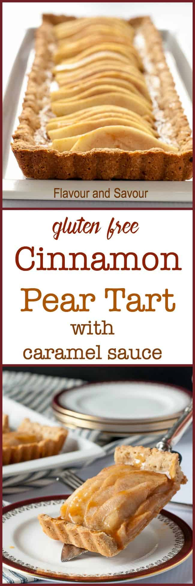 This Gluten-Free Cinnamon Pear Tart is made with a tender almond flour and oat flour crust, sweetened with maple syrup and drizzled with caramel sauce. #GlutenFree #pear #tart #caramel sauce #AlmondFlour