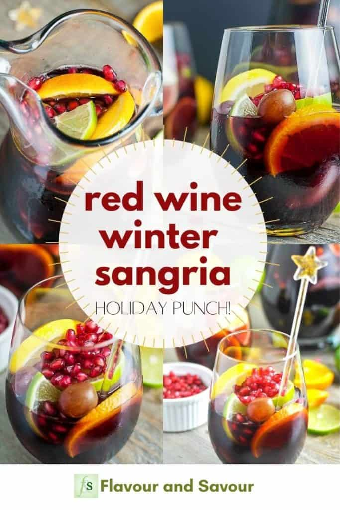 Pinterest image with text Red Wine Winter Sangria