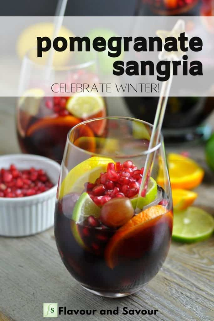 Image with text for Pomegranate Sangria