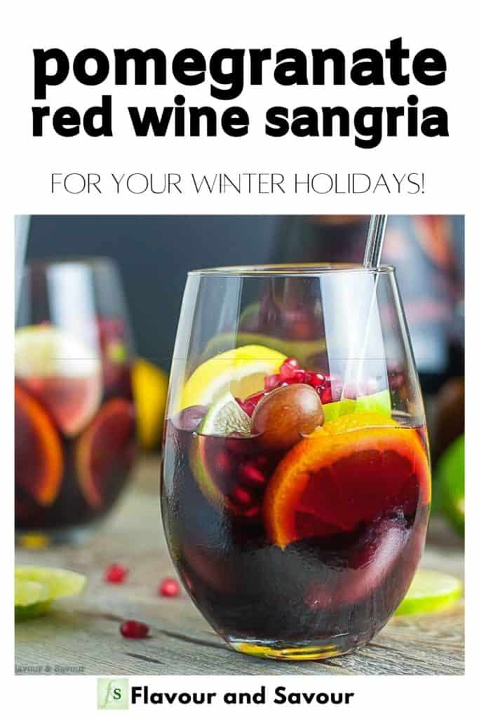 Text and image for Pomegranate Red Wine Sangria