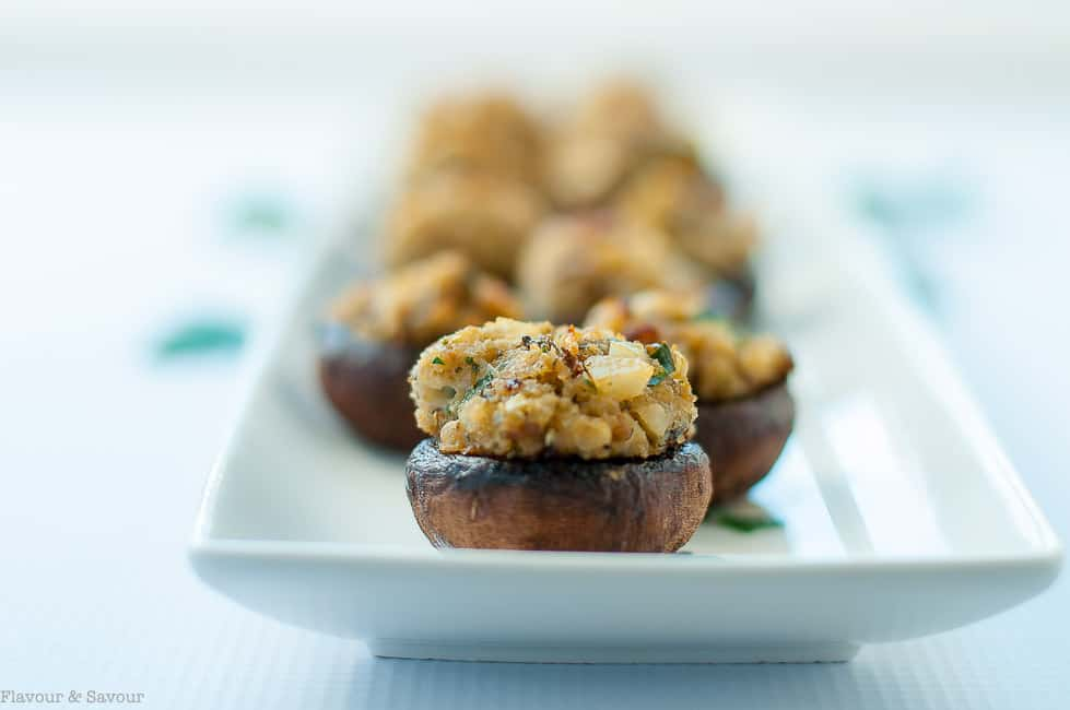 Garlic Lovers' Blue Cheese Stuffed Mushrooms close up view