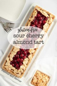 This Sour Cherry Almond Tart is gluten-free, just sweet enough, and perfect for a holiday party. Easy 3-step recipe. |www.flavourandsavour.com