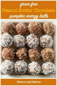 Grain Free Peanut Butter Chocolate Energy Balls title