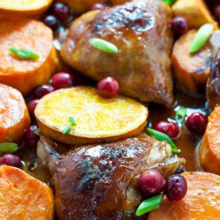 Hoisin Orange Sheet Pan Chicken with Sweet Potatoes