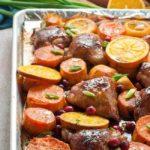 Hoisin Orange Sheet Pan Chicken roasted with fresh cranberries