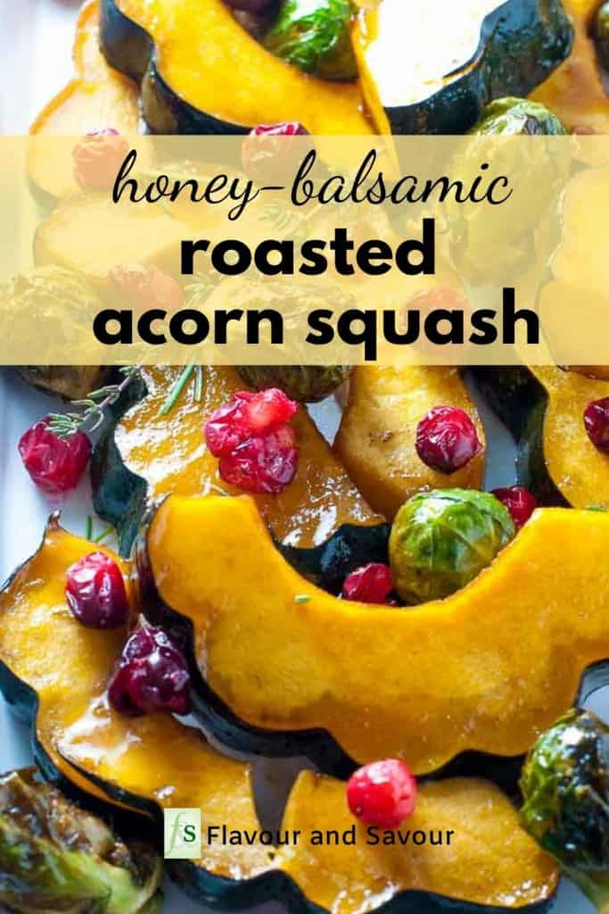 Graphic for Honey Balsamic Roasted Acorn Squash with text overlay