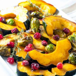 Honey Balsamic Roasted Acorn Squash and Brussels Sprouts | www.flavourandsavour.com
