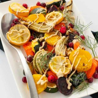 Lemon Tahini Roasted Vegetables