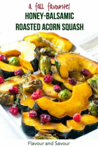 Pinterest Pin for Honey Balsamic Roasted Acorn Squash