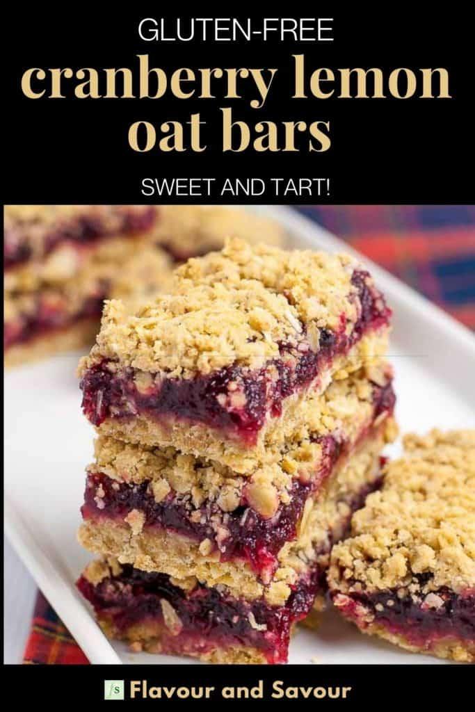 Pinterest pin for Cranberry Lemon Oatmeal Bars