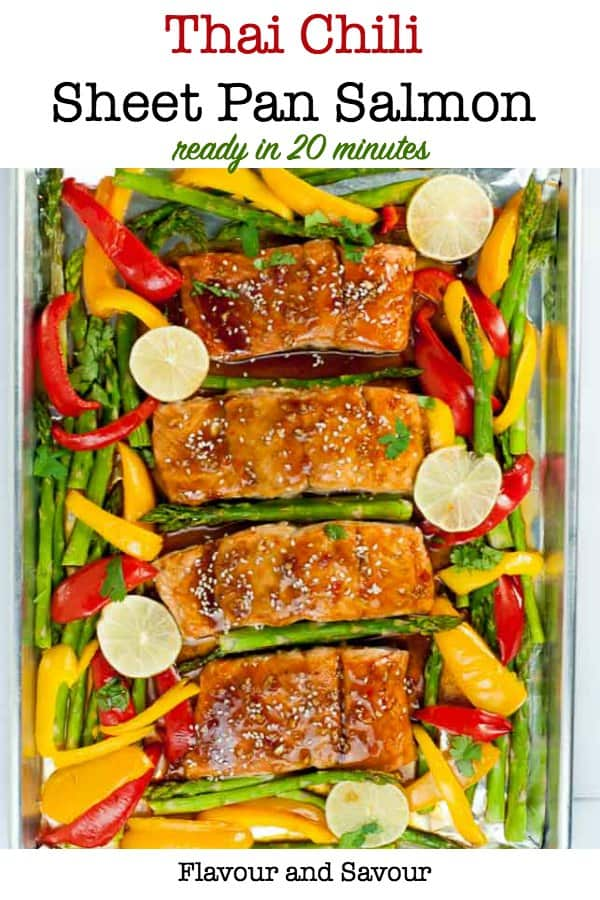 Thai Chili Sheet Pan Baked Salmon with asparagus and peppers