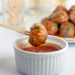 Spicy Thai Turkey Cocktail Meatballs with Dipping Sauce