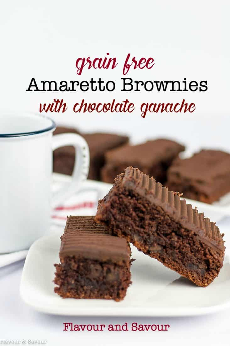 Grain Free Amaretto Brownies with Chocolate Ganache