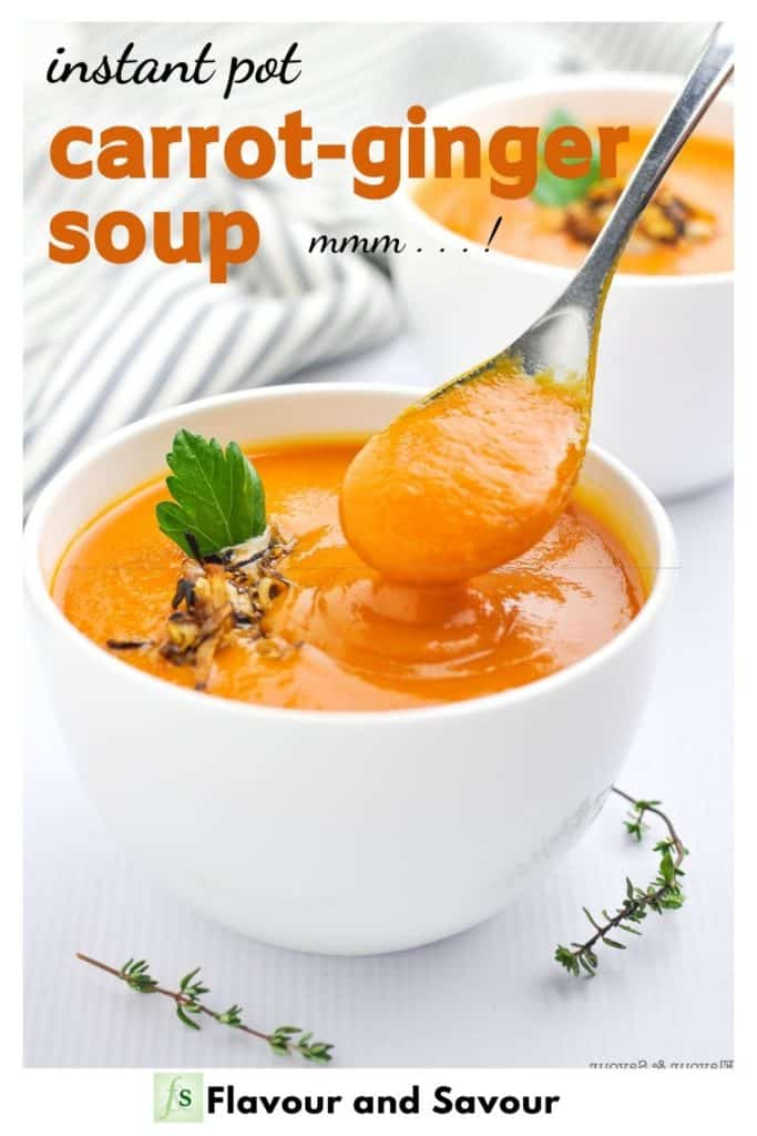Image with text overlay for Carrot Ginger Soup