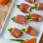 Persimmon Prosciutto Cheese Bites on serving dish