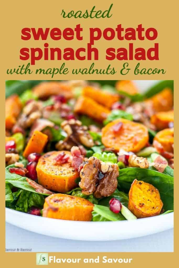 image with text overlay for Sweet Potato Spinach Salad