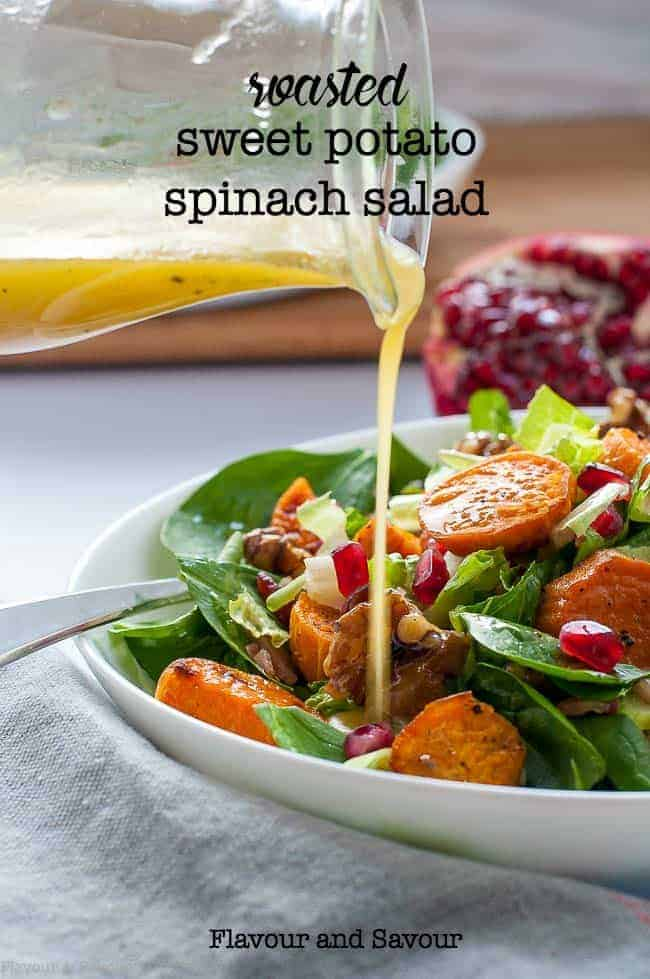 Roasted Sweet Potato Spinach Salad with Maple-Glazed Walnuts, Pomegranate and Bacon Bits