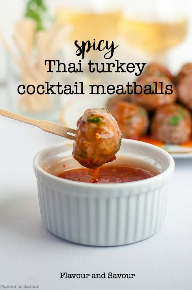 Spicy Thai Turkey Cocktail Meatballs, one of 20 easy finger food appetizers on Flavour and Savour