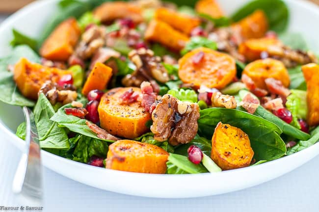 Close up view of Roasted Sweet Potato Spinach Salad