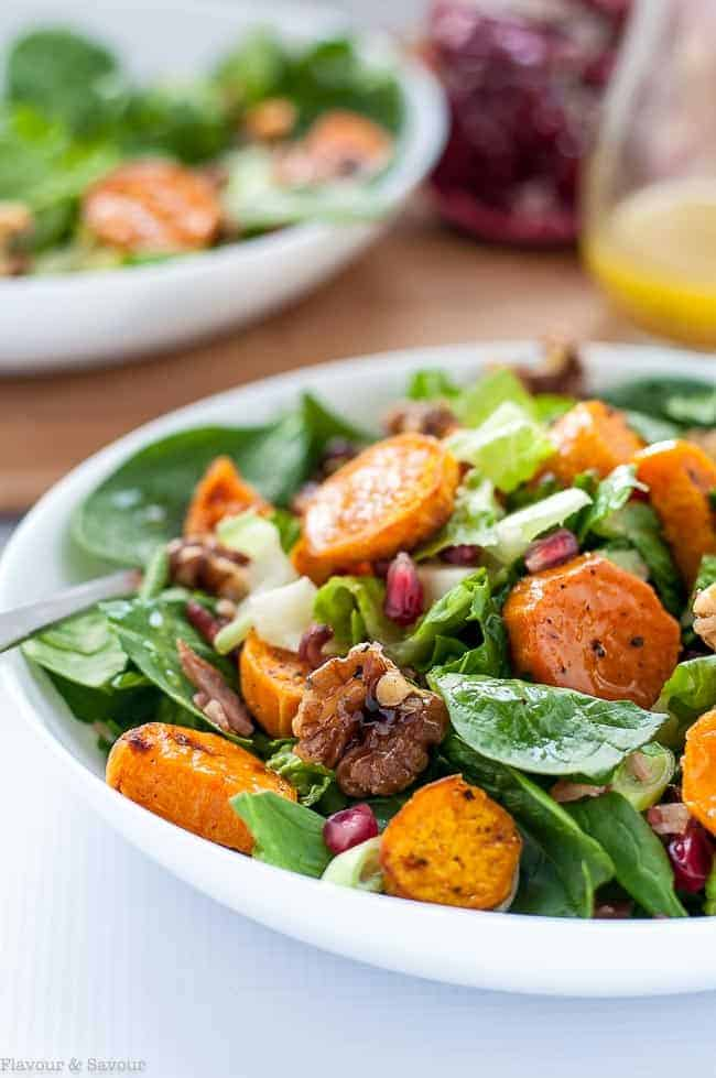 Roasted Sweet Potato Spinach Salad with Maple Walnuts and Pomegranate
