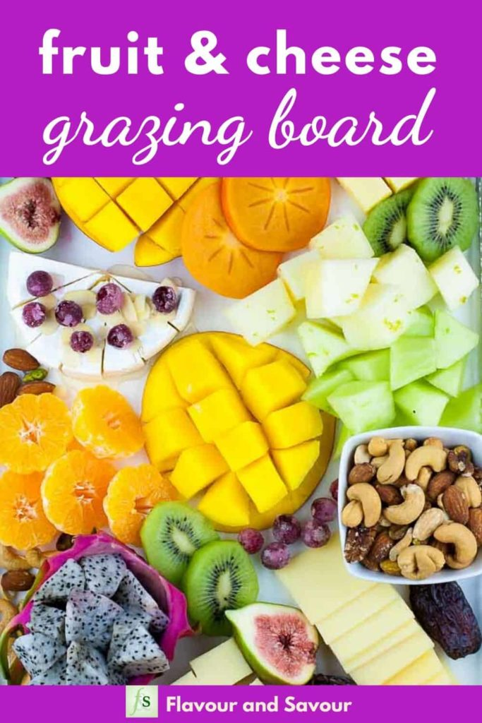 Pinterest Image for Fruit and Cheese Platter with text overlay