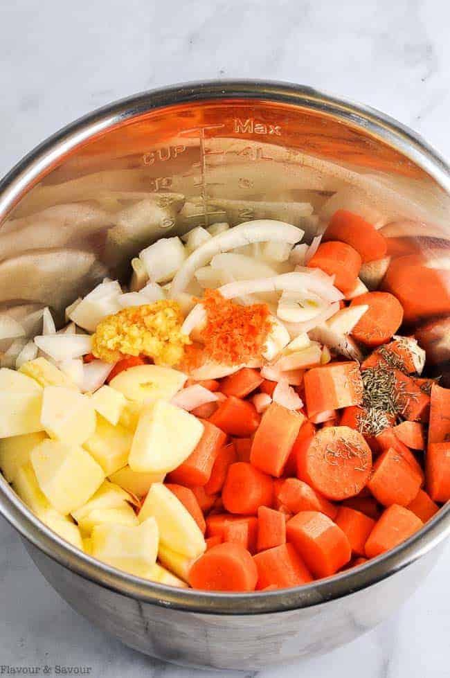 Ingredients for instant pot carrot ginger soup
